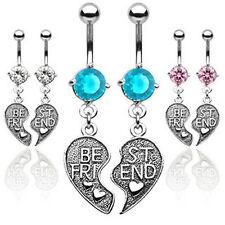Friend Shack - Best Friends BFF Dangle Navel Ring (Belly Body Jewelry) Clear CZ