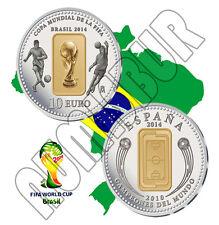 ESPAÑA: 10 euro plata 2014 proof COPA MUNDIAL DE LA FIFA BRASIL 2014