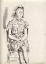 "Hermine DAVID dessin crayon (Juillet 1940)/ ""jeune fille assise"""