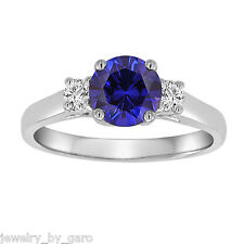 PLATINUM BLUE SAPPHIRE AND DIAMONDS THREE STONE ENGAGEMENT RING 1.22 CARAT