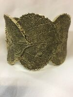 Lia Sophia Leaf Cuff Bracelet Arboretum Textured Gold Tone Statement Embossed