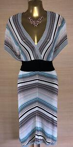 Exquisite Karen Millen Striped Fine Knit Plunge Dress UK14 Stunning