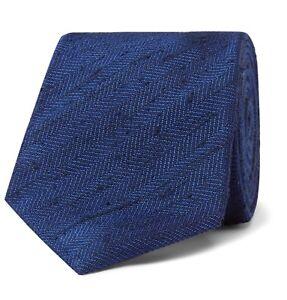 Kingman x Drake's Navy Herringbone Slub Silk Tie Brand New