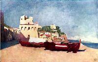 Vietri sul Mare: Torre Normanna. Cromolitografia Pittoresca + Passepartout. 1904