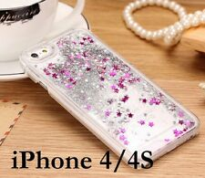 iPhone 4 4S -SILVER Bling Sparkle Glitter Stars Waterfall Liquid Hard Case Cover
