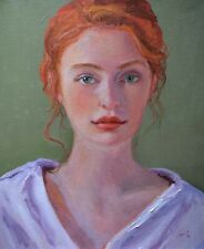 Impressionist Romantic portrait young woman oil painting, direct from J Smith.