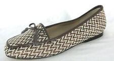 Enzo Angiolini Shoes Sz 6.5N Loafers Bronze Brown White Woven Chevron Zig Zag