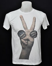 White crew t-shirt peace sign john lennon punk rock cotton CL tee size S