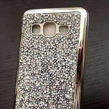 For Samsung Galaxy On5 G550 - HARD RUBBER GUMMY CASE COVER SILVER DIAM
