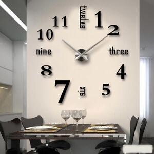 Wanduhr Deko Spiegel Wandtattoo 3D DIY Design Große Wand Uhr Wohnzimmer schwarz