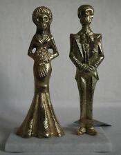 Skeleton Wedding Couple Bride & Groom 'Till Death' Heavy Nickel on Marble Stand