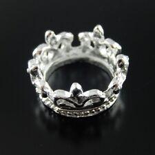 37413 Antiqued Silver Vintage Alloy Graceful Flower Crown Charms Pendant 14 PCS