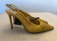 ZARA NEW SLINGBACK HIGH HEEL SHOES WITH STRAPS COURT YELLOW STILETTO SIZE UK 2-9