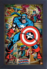 CAPTAIN AMERICA PANELS 13x19 FRAMED GELCOAT POSTER MARVEL COMICS VINTAGE FUN NEW