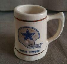 "Dallas Cowboys Ceramic Shot Glass Mug 1970's Vintage Lewis Bro NFL Gold Rim 2.5"""