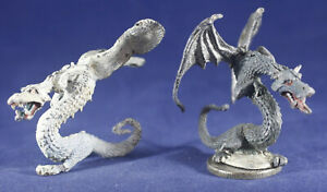 2 Metal Miniatures Ral Partha Cold Drake Dragons 01-072 D&D 1980 like Grenadier