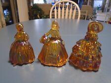 Vintage Carnival Amber Glass Set of 3 Lady Figureines Fenton