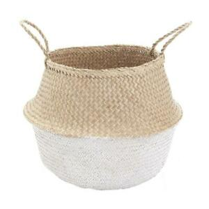 Belly Basket White Dipped Natural Seagrass Handmade Market Bag Kids Toy Storage