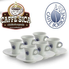 SET 6 Tazzine BORBONE + Piattino Porcellana Cialde Capsule Caffè Borbone