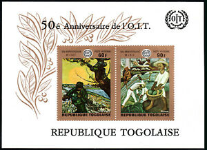 Togo C125a S/S, MNH. Paintings by van Gogh, Diego de Rivera. ILO,50th anniv.1969