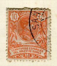 España; Guinea 1909 Antiguo Retrato Fine Used 10 C. valor
