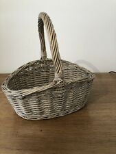 WICKER BASKET WITH CARRY HANDLE VINTAGE STYLE TRADITIONAL  - SHOPPING PICNIC