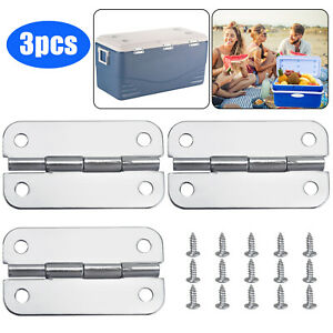 3PCS Stainless Steel Cooler Hinges 15pcs Screws Replacements Igloo Cooler Parts
