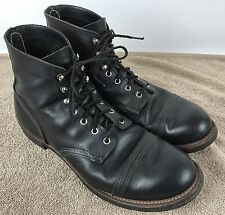 Men's Red Wing Iron Ranger 8114 Work Boots - Black Leather Heritage Size 12 D