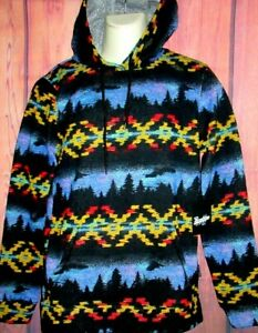 MENS BROOKLYN CLOTH WESTERN TRIBAL HOODIE SWEATSHIRT SIZE L