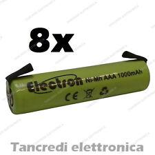 8x 1,2 v 1000 mAh ministilo AAA terminali lamelle a saldare uso generico 900mAh
