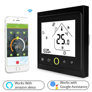Smart WiFi Thermostat LCD Touch Screen Backlight Work with for Alexa Google Home