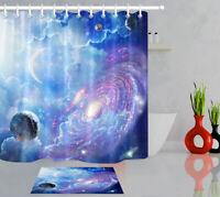 "Galaxy Planet Space Stars Moon Bathroom Polyester Fabric Shower Curtain Set 72"""