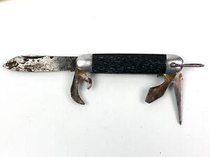 Vintage Sabre Pocket Knife 4-Blade Made in Japan Black Handle and Bail