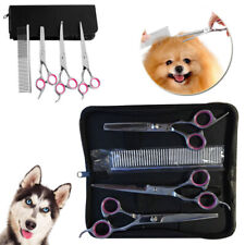 """Professional 7"""" Pet Dog Grooming Scissors Set Straight Curved Thinning Shear Kit"""