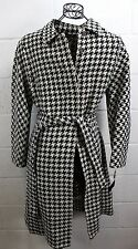 $625 ANNE KLEIN Charcoal Brown Ivory Houndstooth Wool Belted Coat L 12 NWT