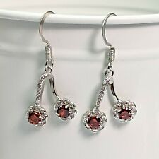 Silver Plated Red And White Cubic Zirconia Flower Earrings
