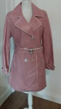 Wilsons Leather Maxima Pink Buttoned Belted Trench Coat Retro Size XL