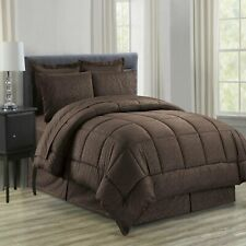 Vine Printed Microfiber 8 Piece Bed In A Bag Set CHOCOLATE