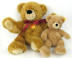 """Steiff Golden Teddy Bear 16"""" And 12"""" With Tags Lot Of 2"""