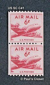 US SC C41 DC-4 AIR MAIL STAMP COIL VERTICAL PAIR PERF 10 HORZ. 6¢ MNH OG 1949 VF