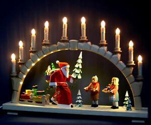 Großer Schwibbogen Weihnachtsmann mit Kindern hand-geschnitzt farbig Erzgebirge