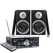 "2x Skytronic 5"" Hi-Fi Bookshelf Speakers + Amplifier Home Audio System 140W"