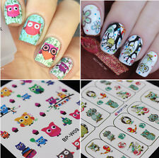 2Sheets Nail Art Water Decals Transfer Sticker Manicure Cute Owl Design Tips DIY
