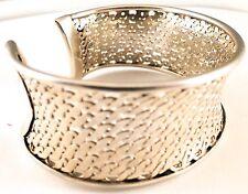 New .925 Sterling Silver Woven Scroll Mesh Medium Cuff Adjustable Bracelet $595
