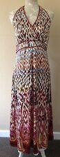 Monsoon boho floral silk midi holiday party bandeau Dress size 14