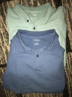 Lot of 2 Men's L.L. Bean Long Sleeve Knit Polo Shirts Solid Blue L C15