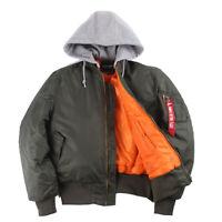 Men's MA1 Air Force Flight Jacket Military Pilot Bomber Zipper Hooded Coat Tops