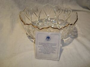 """Original Walther Glass Gold Trimmed 8"""" x 3.5"""" Made in German Bowl"""