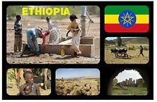 ETHIOPIA, AFRICA - SOUVENIR NOVELTY FRIDGE MAGNET - FLAGS / SIGHTS - GIFT - NEW