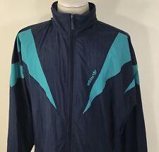 VTG 90s ADIDAS Full Zip Windbreaker Blue Teal Trefoil Men's 2XL Full Zip 80s